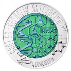 AUSTRIA 25 EUROS 2014 EVOLUCION DEL ADN MONEDA DE PLATA y NIOBIO ESTUCHE OFICIAL Österreich Niob & Silver coin EVOLUTION DNA