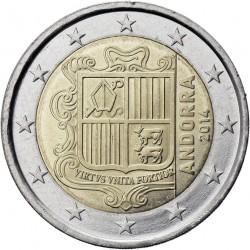@1º AÑO DE EMISION@ ANDORRA 2 EUROS 2014 ESCUDO DEL PRINCIPADO @RARA@ SC MONEDA BIMETALICA