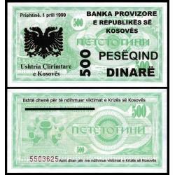 KOSOVO 500 DINARE 1999 BANKA PROVIZIORE Prishtina TEXTO EN TINTA sobre billete de MACEDONIA Pick 5 SC @RARO@ UNC BANKNOTE