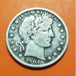 ESTADOS UNIDOS 1/2 DOLAR 1904 BARBER y AGUILA KM.116 MONEDA DE PLATA MBC- @ESCASA@ USA silver Half Dollar