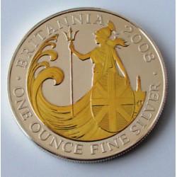 INGLATERRA 2 LIBRAS 2008 BRITANNIA MONEDA DE PLATA CON BAÑO DE ORO @RARA@ SC GOLD SILVER GILDED £2 Pounds 1 ONZA OZ
