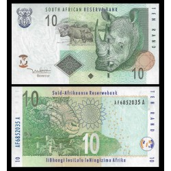 SUDAFRICA 10 RANDS 2005 RINOCENRONTE AFRICANO Pick 128A BILLETE SC South Africa UNC BANKNOTE