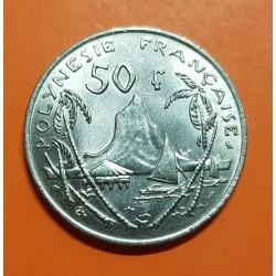POLINESIA FRANCESA 50 FRANCOS 1967 MONTAÑA KM.7 MONEDA DE NICKEL SC Polynesie Francaise