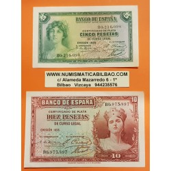 ESPAÑA 5 PESETAS 1935 + 10 PESETAS 1935 DAMA Serie B Pick 86 y 87 BILLETE EBC- II REPUBLICA ESPAÑOLA