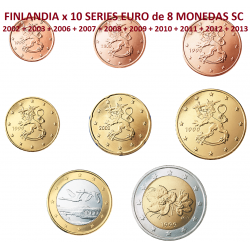 10 series x FINLANDIA MONEDAS EURO SC 2002+2003+2006+2007+2008+2009+2010+2011+2012+2013 SC Código ALG