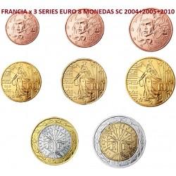 3 series x FRANCIA MONEDAS EURO SC 2004 + 2005 + 2010 SC 1+2+5+10+20+50 Cts 1€+2€ Cödigo ALG