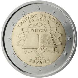 ESPAÑA 2 EUROS 2007 TRATADO DE ROMA 50 ANIVERSARIO SC BIMETALICA MONEDA CONMEMORATIVA Spain