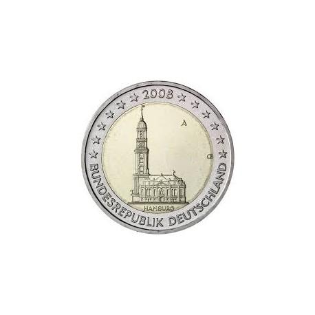 ALEMANIA 2 EUROS 2008 IGLESIA EN HAMBURGO SC MONEDA BIMETALICA y CONMEMORATIVA Germany euro coin