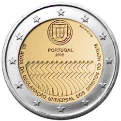 PORTUGAL 2 EUROS 2008 HUMAN RIGHTS UNC BIMETALLIC