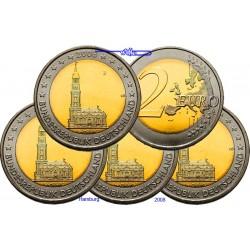 2 EUROS 2008 ALEMANIA IGLESIA HAMBURGO SC A+D+F+G+J 5 MONEDAS SIN CIRCULAR