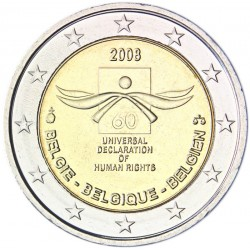 BELGICA 2 EUROS 2008 DERECHOS HUMANOS MONEDA BIMETALICA SC CONMEMORATIVA