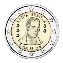 BELGIUM 2 EUROS 2009 LOUIS BRAILLE UNC BIMETALLIC