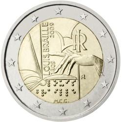 ITALIA 2 EUROS 2009 LOUISE BRAILLE 200 AÑOS DE SU NACIMIENTO MONEDA BIMETALICA SC CONMEMORATIVA Italy