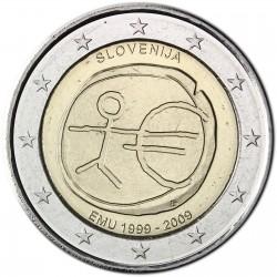 SLOVENIA 2 EUROS 2009 EMU ANIVERSARY UNC BIMETALLIC