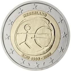 NETHERLANDS 2 EUROS 2009 EMU ANNIVERSARY UNC BIMETALLIC