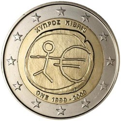 CHIPRE 2 EUROS 2009 EMU 10 ANIVERSARIO MONEDA BIMETALICA SC Cyprus Zypern