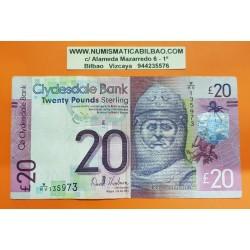 ESCOCIA 20 LIBRAS 2015 CLYDESDALE BANK REY ROBERT BRUCE Pick 229KD BILLETE CIRCULADO Scotland 20 Pounds BANKNOTE PVP NUEVO 59€