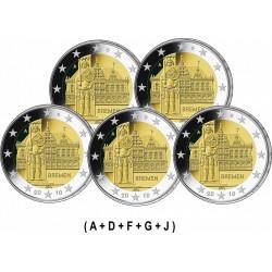 GERMANY 2€ EURO 2010 BREMEN UNC A+D+F+G+J