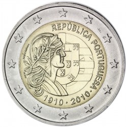 PORTUGAL 2 EUROS 2010 100th ANNIVERSARY REPUBLIC UNC BIMETALLIC