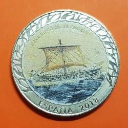 ESPAÑA 1,50 EUROS 2018 HISTORIA DE LA NAVEGACION Barco NAVE DE COMBATE FENICIA MONEDA DE NICKEL SC @COLORES@