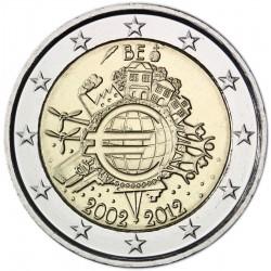 BELGICA 2 EUROS 2012 X ANIVERSARIO DEL EURO SC MONEDA CONMEMORATIVA BIMETALICA Belgium