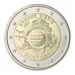 CHIPRE 2 EUROS 2012 X ANIVERSARIO DEL EURO SC MONEDA CONMEMORATIVA BIMETALICA Cyprus Zypern