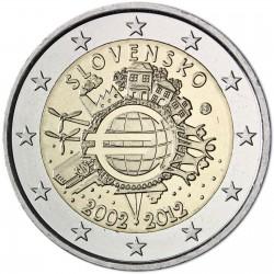 SLOVAKIA 2 EUROS 2012 X ANIVERSARY UNC BIMETALLIC