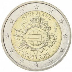 HOLANDA 2 EUROS 2012 X ANIVERSARIO DEL EURO SC @RARA@ MONEDA CONMEMORATIVA BIMETALICA The Netherlands