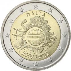 MALTA 2 EUROS 2012 X ANIVERSARIO DEL EURO SC @RARA@ MONEDA CONMEMORATIVA BIMETALICA