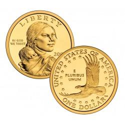@RARA@ ESTADOS UNIDOS 1 DOLAR 2001 S INDIA SACAGAWEA KM.310 MONEDA DE LATON PROOF US $1 DOLLAR COIN