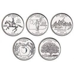 5 monedas ESTADOS UNIDOS 25 CENTAVOS 1999 Letra D Serie 50 STATEHOOD QUARTERS SC USA