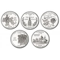 10 monedas ESTADOS UNIDOS 25 CENTAVOS 2000 Letra D + P Serie 50 STATEHOOD QUARTERS SC USA