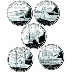 5 monedas ESTADOS UNIDOS 25 CENTAVOS 2001 Letra S Serie 50 STATEHOOD QUARTERS @PROOF@ USA