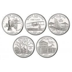 ESTADOS UNIDOS 1/4 DOLAR 2001 SET 5 monedas US QUARTER DOLLAR