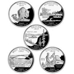 10 monedas ESTADOS UNIDOS 25 CENTAVOS 2005 Letra D + P Serie 50 STATEHOOD QUARTERS SC USA