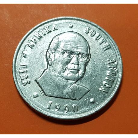 SUDAFRICA 1 RAND 1990 PIETER W. BOTHA y ANTILOPE KM.141 MONEDA DE NICKEL EBC+ South Africa