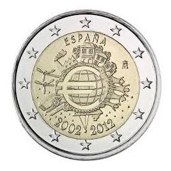 SPAIN 2 EUROS 2012 X ANNIVERSARY UNC BIMETALLIC