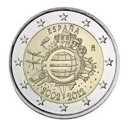 ESPAÑA 2 EUROS 2012 X ANIVERSARIO DEL EURO SC MONEDA CONMEMORATIVA BIMETALICA Spain