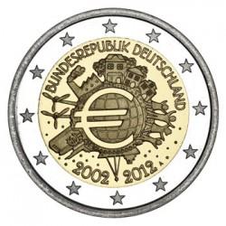 ALEMANIA 2 EUROS 2012 X ANIVERSARIO DEL EURO SC @RARA@ MONEDA CONMEMORATIVA BIMETALICA Germany BRD