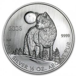 CANADA 1 DOLAR 2006 LOBO TIMBER WOLF MONEDA DE PLATA SC 1/2 ONZA OZ OUNCE silver dollar