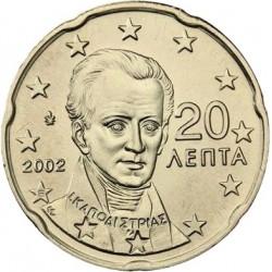 """GRECIA 20 CENTIMOS 2002 @CON LETRA """"E"""" A LAS 20:00@ PERSONAJE MONEDA DE LATON SC SIN CIRCULAR Greece 20 Cent coin"""