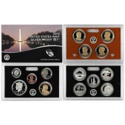 2013 UNITED STATES MINT SILVER PROOF SET @PLATA@ 14 COINS ESTADOS UNIDOS 1+5+10+10+25 CENTAVOS + 1/2 DOLAR 2013 + 1 DOLAR 2013