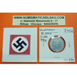 DINAMARCA 2 ORE 1941 CX BAJO CORONA KM.833A MONEDA DE ZINC OCUPACION NAZI III REICH WWII Denmark