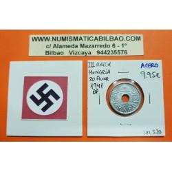 HUNGRIA 20 FILLER 1941 BP ESCUDO KM.520 MONEDA DE ACERO OCUPACION NAZI III REICH WWII Hungary