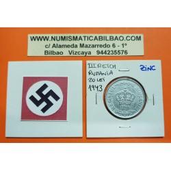 RUMANIA 20 LEI 1943 CORONA KM.62 MONEDA DE ZINC OCUPACION NAZI III REICH WWII Romania