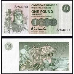 ESCOCIA 1 LIBRA 1985 CLYDESDALE BANK ROBERT THE BRUCE Pick 211C BILLETE SC Scotland 1 Pound UNC BANKNOTE