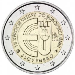 ESLOVAQUIA 2 EUROS 2014 ENTRADA EN LA EUROPA UE 10 ANIVERSARIO SC MONEDA CONMEMORATIVA Slovakia