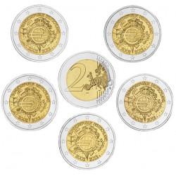 ALEMANIA 2 EUROS 2012 A+D+F+G+J X ANIVERSARIO DEL EURO SC @RARA@ MONEDA CONMEMORATIVA BIMETALICA Germany BRD