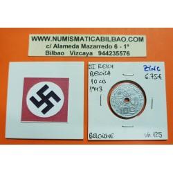 BELGICA 10 CENTIMOS 1943 ESCUDOS BELGIE KM.125 MONEDA DE ZINC OCUPACION NAZI III REICH WWII Belgium 10 centimes