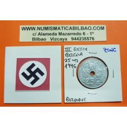 BELGICA 25 CENTIMOS 1946 ESCUDOS BELGIQUE KM.132 MONEDA DE ZINC OCUPACION NAZI III REICH WWII Belgium 25 Centimes
